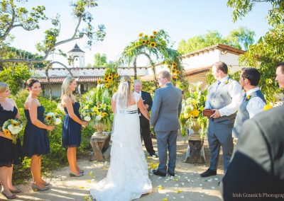 a wedding ceremony in the courtyard