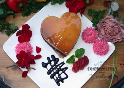 Valentines Flan desert with flowers