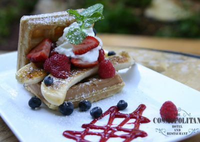 Waffle Plate with fruit and powder sugar