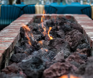 fire pit with made of red bricki