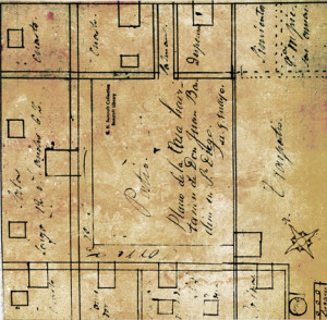 A portion of the original floorplan for the Bandini House, now the first floor of the Cosmopolitan Hotel and Restaurant. circa 1829.