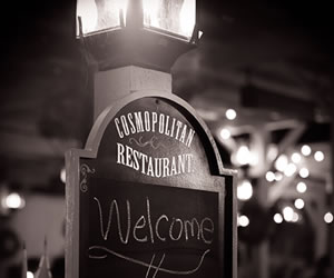 welcome sign for the Cosmopolitan Restaurant